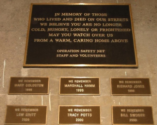 This plaque is dedicated to remember the Pittsburgh homeless during the annual December 21st memorial service